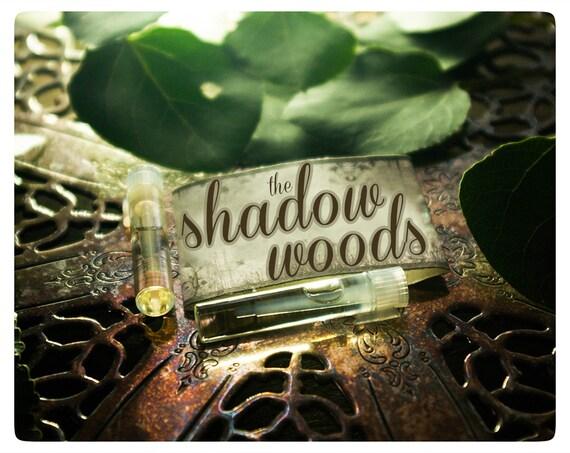 the shadow woods - natural perfume oil 2-vial sampler in dapper parchment envelope - frasier fir, jasmine & pine
