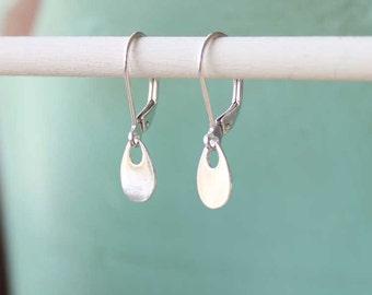 Dainty Silver Teardrop Earrings, Tiny Silver Dangles, Silver Drop Earrings, Sterling Silver Everyday Jewelry, Lightweight Silver Earrings