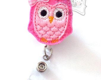 Baby Pink Owl Badge Holder, Feltie Badge, Felt Badge Clip, Nurse Badge Reel, Retractable Badge, RN Badge