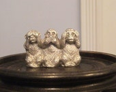 Hear See Speak No Evil Monkeys Pewter Collectible Vintage Figurine Free Shipping