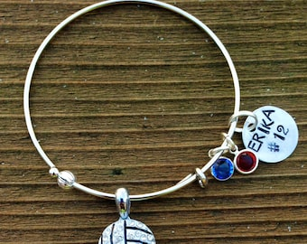 Adjustable bangle rhinestone Volleyball bracelet.  Custom name, color and hand stamped name