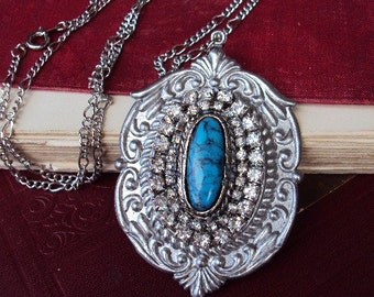 Vintage Turquoise Pendant Necklace Rhinestones and Silver Medallion