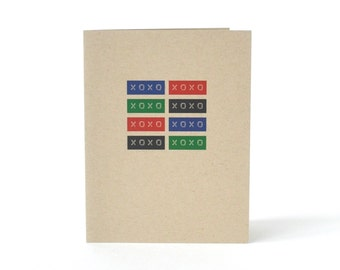 XOXO Valentines Day Card - Blank Recycled I Love You Card - Hugs and Kisses - Card for Boyfriend or Girlfriend - I Miss You Card