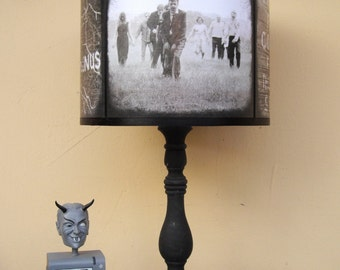 Zombie Apocalypse lamp shade lampshade - The Walking Dead, lighting, halloween decor, dark art, zombies, horror, Spooky Shades, walkers