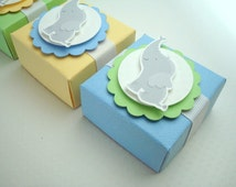 Baby Elephant Favor Boxes, Yellow, Blue and Green, Set of Ten