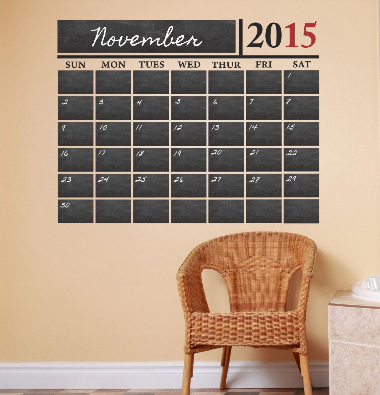 Chalkboard Calendar Decal : Vinyl chalkboard calendar wall decal by decordesignsdecals