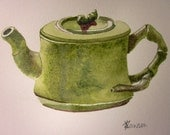 Moss green Asian influenced teapot -- original watercolour painting