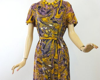 Vintage 60s Day Dress Purple & Gold Watercolor Print Dress by Flutterbye Size Large