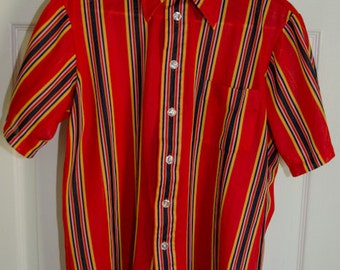 Vintage 1960s 1970s Mens Red and Blue Striped Pool Shirt