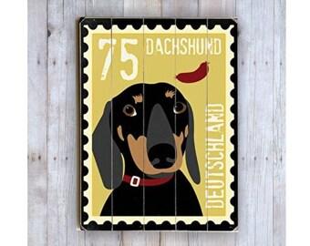 Dachshund Sign, Dachshund Art, Wooden Sign, Postage Stamp Art, Dog Lover Gift, Doxie Art, Weiner Dog, Dachshund Theme Decor Wall Decor