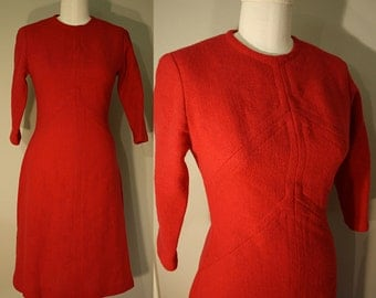 Vintage Wool Dress: 1960s Curvy A-line Red Sheath Chevron Stitching 2 4 XS S