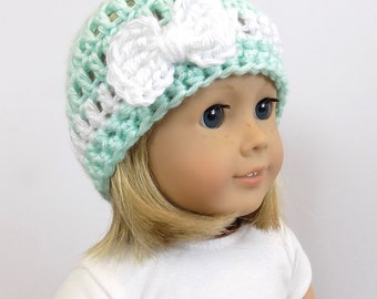 Mint Green Doll Hat, 18 Inch Doll Clothes, Doll Clothing