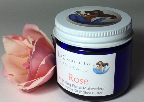 Rosewater Face Moisturizer -  Natural based Skin Care for All Skin Types - 2 oz Eco-Friendly Glass Jar - On Sale
