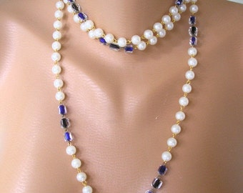 Long Pearl Necklace, Backdrop Necklace, Flapper Necklace, Art Deco, Great Gatsby, Pearl and Blue Glass Bead Necklace, Downton Abbey