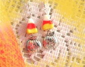 Candy Corn lampwork glass with silver plated Pumpkin charm on 925 Sterling silver wire Earrings