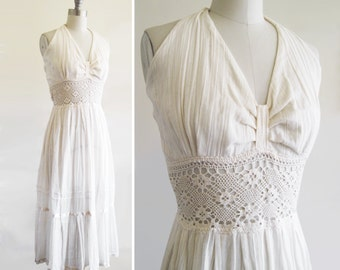 Gauzy Vintage 1970s 70s Boho Cream Maxi Wedding Dress with Crochet Waist and Halter Top sz S-M