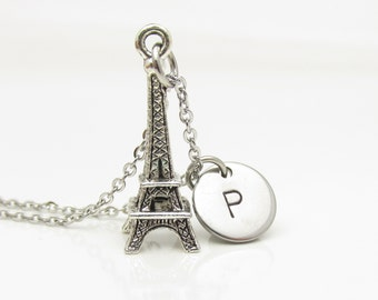 Eiffel Tower Necklace, Silver Eiffel Tower Pendant with Personalized Stamped Initial Letter, Paris Charm, Monogram Necklace Y010
