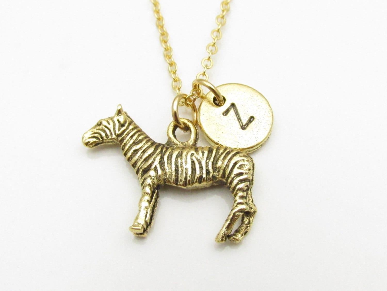 zebra necklace gold zebra charm initial necklace