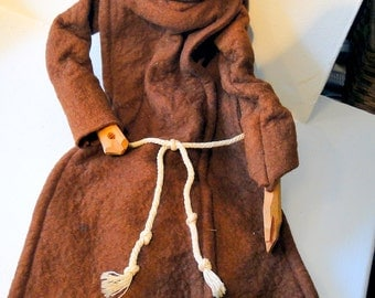 SALE Monk Puppet Long Robe Carved Face Hands Hood