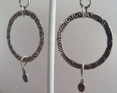 Spirals:  Hand Forged Stamped and Oxidized Fine Silver Earrings