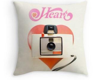 Throw Pillow Case Heart : Vintage Camera Heart Album Record White Red Pink Black Valentine