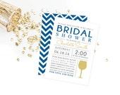Chevron and Wine Bridal Shower Invitation