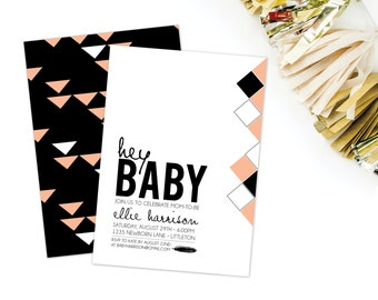 Geometric Hey Baby Shower Invitation