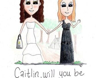 Custom Portrait Bridesmaid Wedding Caricature