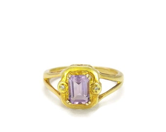 Vintage 1980s Ring | Vintage Amethyst Ring | Gold Vermeil Purple Ring Size 6.75