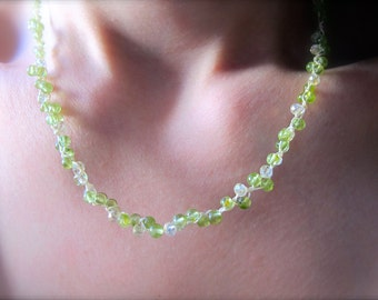Lily of the Valley: Peridot & Crystal Silk Woven Necklace