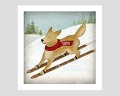PERSONALIZED Golden Retriever Ski Dog Scarf PRINT SIGNED