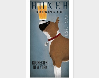 Personalized Customizable  - BOXER  Dog Brewing Company graphic art giclee print SIGNED