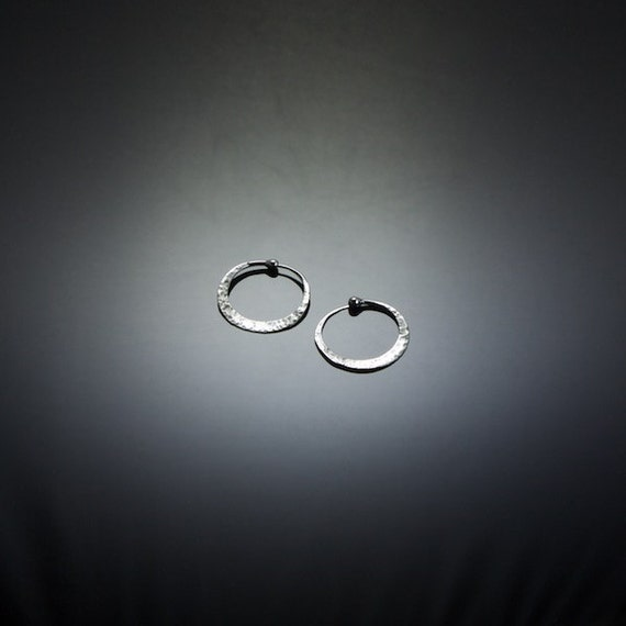 Micro Silver Hoop Earrings with Rustic Hammered Texture