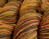Hand Dyed Yarn - DK Weight Superwash Merino Wool Singles Yarn - Antique Brass - Knitting Yarn, Wool Yarn, Single Ply Yarn, Gold