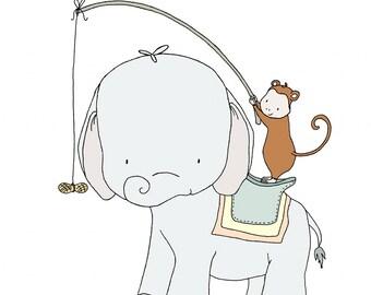 Elephant and Monkey Nursery Art -- Take Me For A Ride -- Elephant and Monkey --  Nursery Art -- Nursery Decor-- Children Art, Kids Wall Art