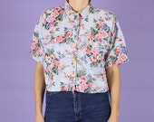 Chambray Floral Crop Top ...
