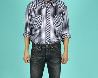 Gingham Picnic Plaid Western Snap Shirt - L