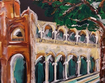 Merida Mexico Fine Art Cathedral Painting Night Scene 14 by 18 inches