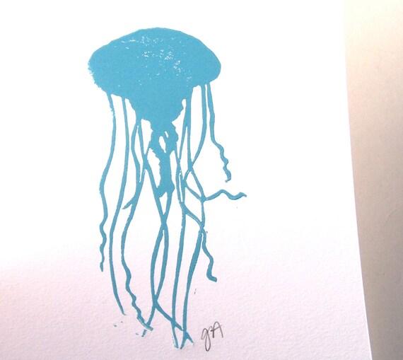 LINOCUT PRINT - Jellyfish LETTERPRESS light blue ocean animal 8x10