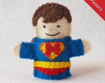 Pattern, felt finger puppet pattern, superhero finger puppet pattern, superhero pattern, caped superhero