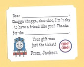 Thomas the Train Fill in the Blanks Thank You Notes - Great for Little Engineers
