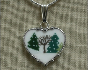 Broken China Jewelry Lenox Sleighride Trees in the Snow Heart Pendant Necklace