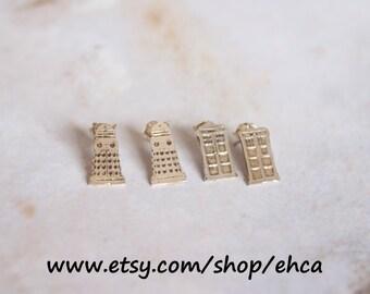 Handmade Sterling Silver Tardis or Dalek Post Earrings