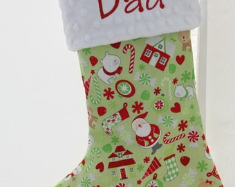 Personalized Christmas Stocking - Green Christmas Mix
