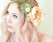 Woodland crown, floral hair wreath, forest flower crown, wedding headpiece, rose circlet, fern crown, hair accessory - Nymphaea