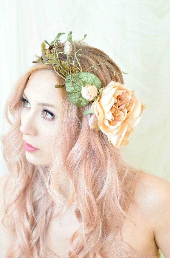 flower crown wedding hair woodland crown floral hair wreath forest flower crown 4156