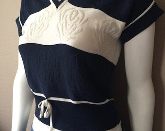 Vintage Women's 80's Cropped Knit, Navy, White, Striped, Short Sleeve by J.T. Martin (S/M)
