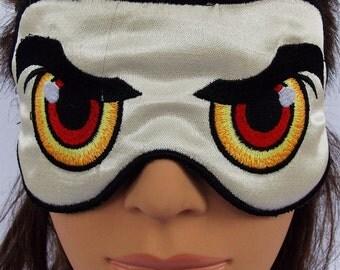 Angry eye embroidered satin sleep mask