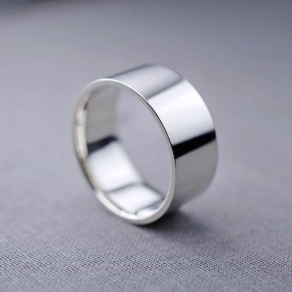 liquidation sale 10mm silver mens wedding band by