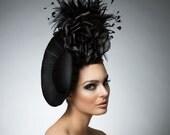 Black fascinator, Black headpiece, cocktail hat, derby hat, melbourne cup hats, Disk hat